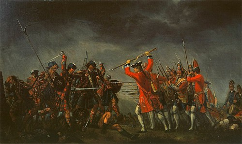 An incident in the rebellion of 1745. The eight featured highlanders in the painting wear over twenty different tartans